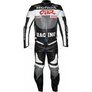 Honda CBR GREY Leather Motorcycle Racing Suit