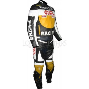 Honda CBR YELLOW Motorbike Racing Leathers Suit