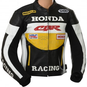 Honda CBR Racing Yellow Leather Motorcycle Jacket