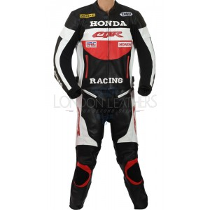 Honda Red CBR Racing Leather Motorcycle Suit