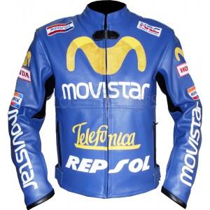 Telefonica Movistar Repsol Leather Motorcycle Jacket