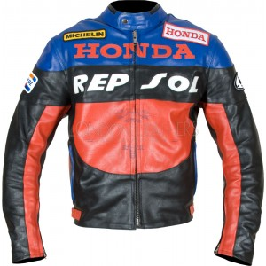 Repsol Gas Blue Leather Motorcycle Jacket