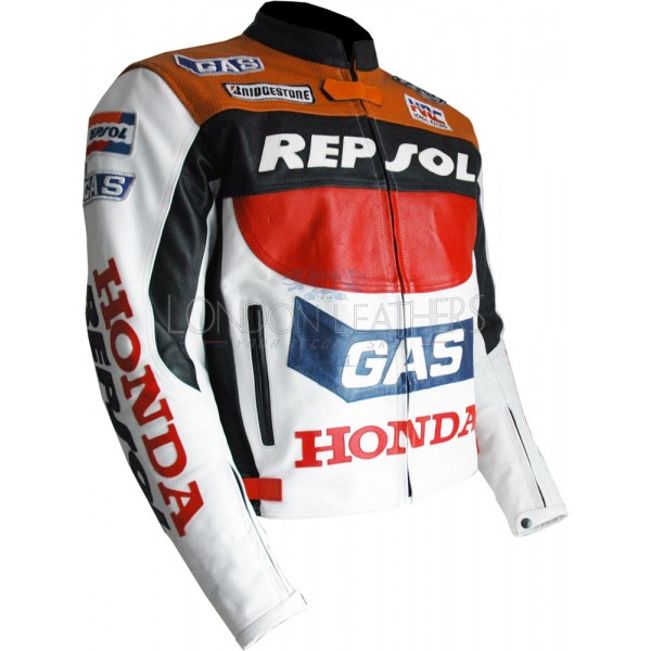Repsol GAS HRC MotoGP Leather Motorcycle Jacket