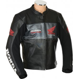 HONDA Racing Black Leather Motorcycle Jacket