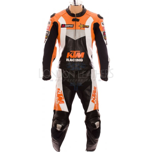 KTM Racing Pro Classic Orange Black Motorcycle Biker Leather Suit