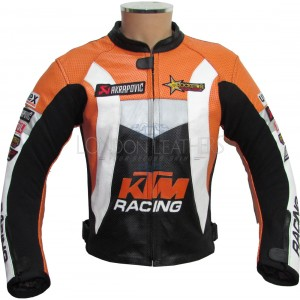 KTM Racing Leather Perforated Motorcycle Biker Jacket