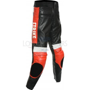 Lucky Strike Red Leather Motorcycle Trouser Pant