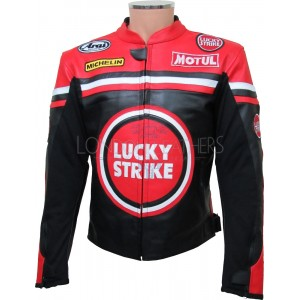 LUCKY Strike Red & Black Leather Motorcycle Jacket