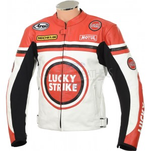 Lucky Strike WHITE & RED Leather Biker Jacket