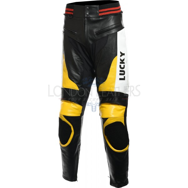 Lucky Strike Yellow Motorbike Genuine Leather Pant