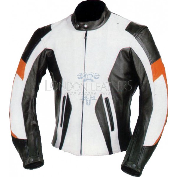 RTX Motocross White Leather Motorcycle Jacket