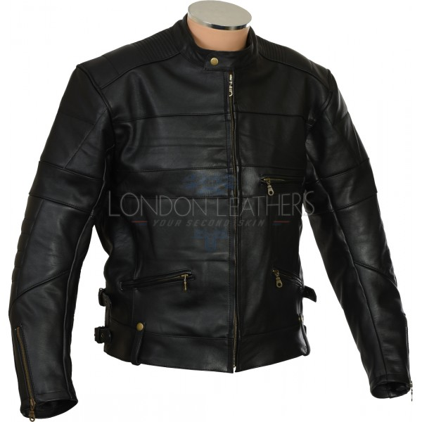 Harley Cruiser Vintage Black Leather Biker Jacket