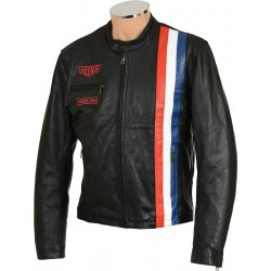 Black Steve McQueen Heuer GrandPrix Leather Jacket