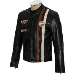 Steve McQueen Le-Man Gulf Heuer Firestone Black Premium Leather Jacket