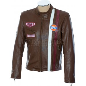 Steve McQueen Legends Gulf Le Man Firestone Heuer Brown Premium Leather Jacket