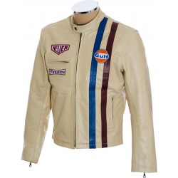 Steve McQueen Le-man Gulf Heuer Firestone CREAM Premium Leather Jacket