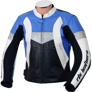 Violator Blue Premium Leather Motorcycle Jacket