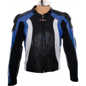 RTX Aero Evo Blue Leather Motorcycle Jacket
