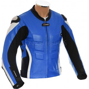 RTX AKIRA Blue Leather Motorcycle Biker Jacket