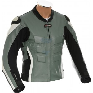 RTX AKIRA Grey Leather Motorcycle Biker Jacket