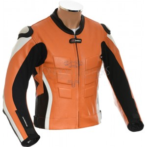 RTX AKIRA Orange Leather Motorcycle Biker Jacket