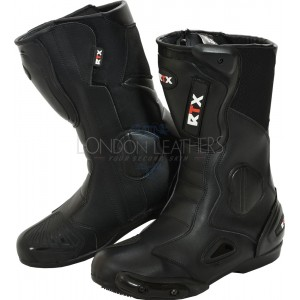 RTX Omega Black Protective Motorcycle Boots