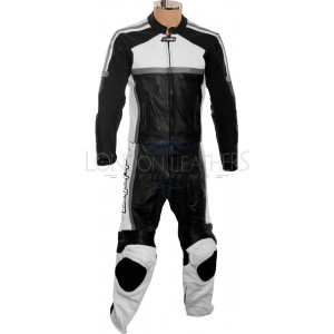RTX Classic Sport GREY Racing Leather Motorcycle Suit