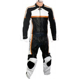 RTX Classic Sport ORANGE Racing Leather Motorcycle Suit