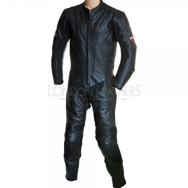 RTX Raven Black Matt Leather Vented Motorcycle One Piece Suit