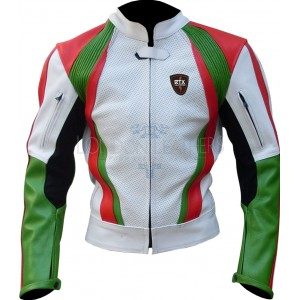 RTX Italia Tri Colour Leather Motorcycle Jacket