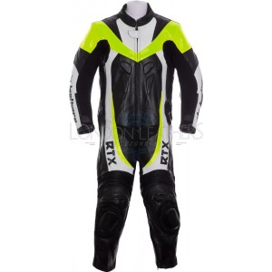RTX F1 Junior Kids Racing Biker Floro Yellow Leathers