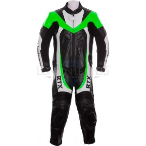 RTX F1 Junior Kids Racing Biker Green Leathers