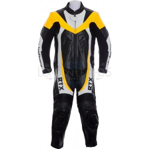 RTX F1 Junior Kids Racing Biker Yellow Leathers