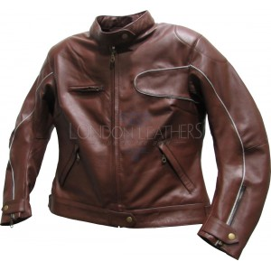 Ladies Brown Leather Biker Jacket