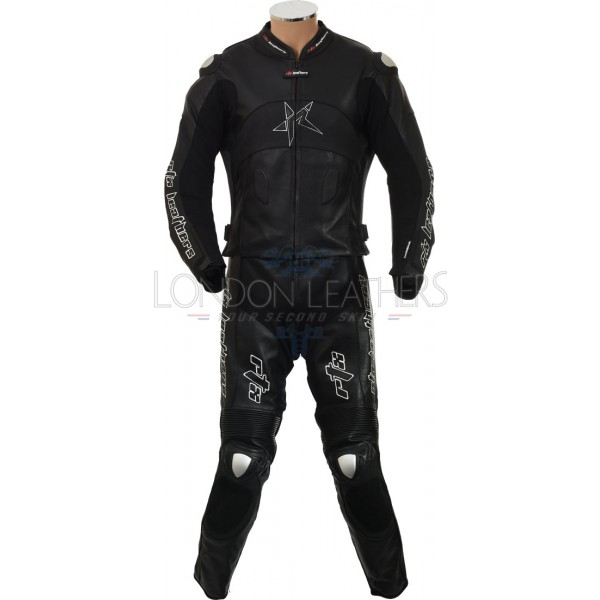 RTX Panther Black 2 Piece Motorcycle Racer Leathers
