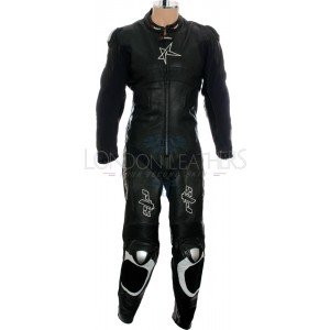 SALE - RTX Panther Black Sports Biker Race Leather Suit