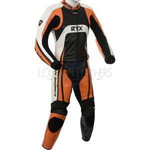 Raptor Orange Motorcycle 2pc Racing Leather Suit