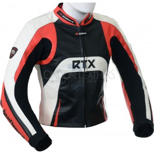 Raptor Red Motorcycle Leather Biker Jacket