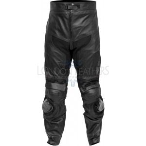 Retro Classic Plain Black Leather Motorcycle Trouser