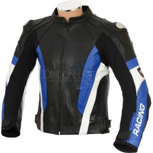 RSV Blue Sports Biker Leather Motorcycle Jacket