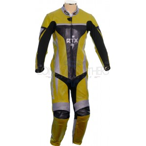 RTX Xtreme Yellow One Piece Motorbike Leather Suit
