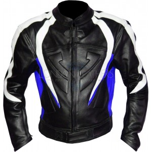 RTX Transformer Blue Leather Motorcycle Jacket