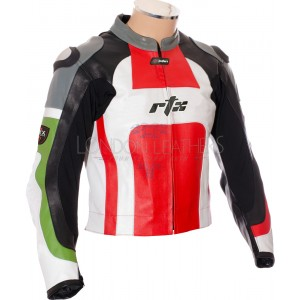 RTX Classic Tri Colour Leather Motorcycle Jacket