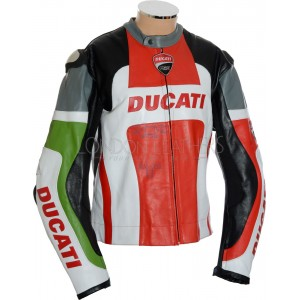 SALE - Ducati Corse Tri Colour Leather Biker Jacket