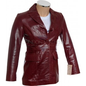 SALE - Ladies Dark Red Leather Jacket - M