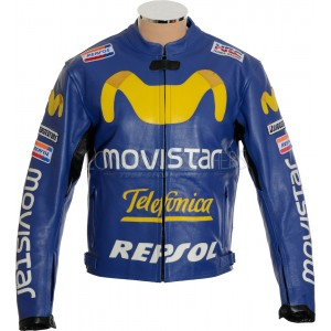 SALE - Honda Movistar Telefonica Leather Biker Jacket