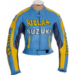 SALE - Suzuki Rizla Sports Blue Leather Motorcycle Jacket