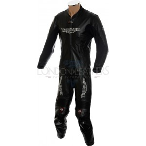 Triumph Daytona All Black Sports Motorcycle Leather Armoured Suit