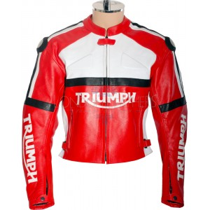Triumph Classic Red Leather Biker Jacket