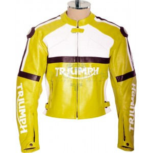 Triumph Classic Yellow Leather Biker Jacket